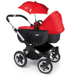 Bugaboo Donkey Mono with a side basket and matching parasol